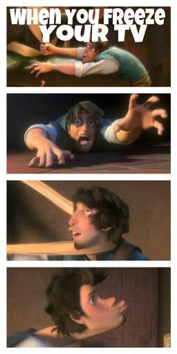 When you freeze your TV during Tangled #disney #funny Lol his faces! (#disneyHumorMe)