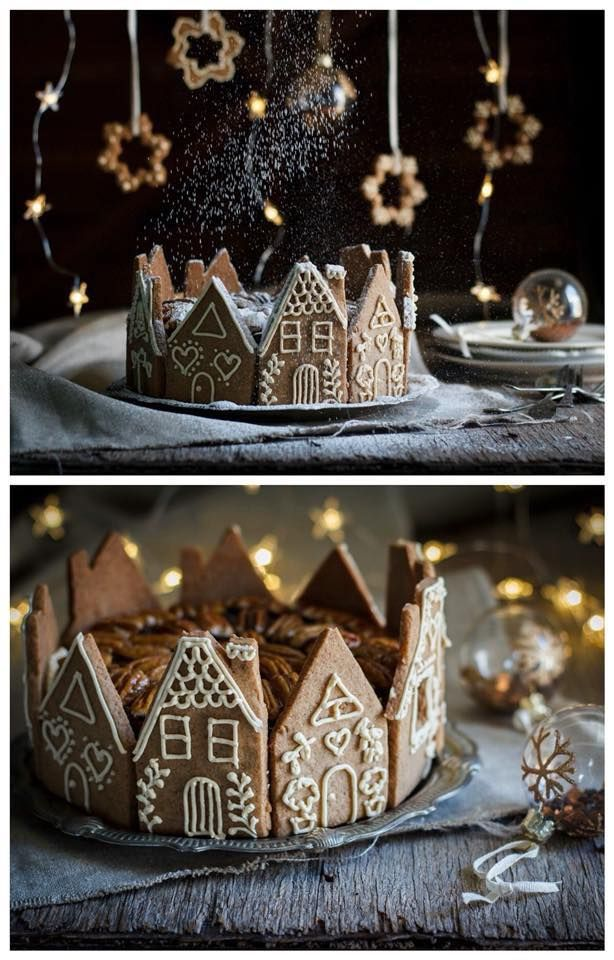 Gingerbread house sides around a bundt cake