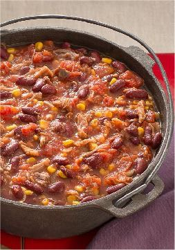 Pulled Pork Halftime Chili – Sure, you can serve this 30-minute pulled-pork chili during halftime. Or you could make it during halftime—and enjoy it after the game!