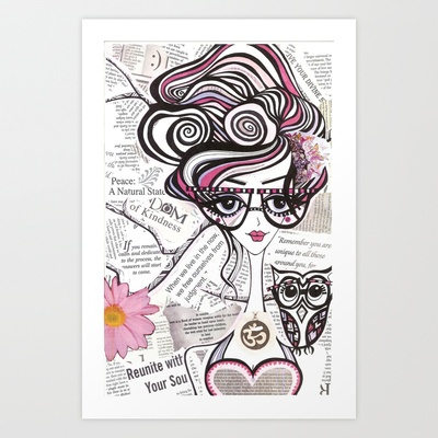 Positive Art and Girls with Owls Art Decor Collection: Emma Art Print by Holly Bliss - $15.00