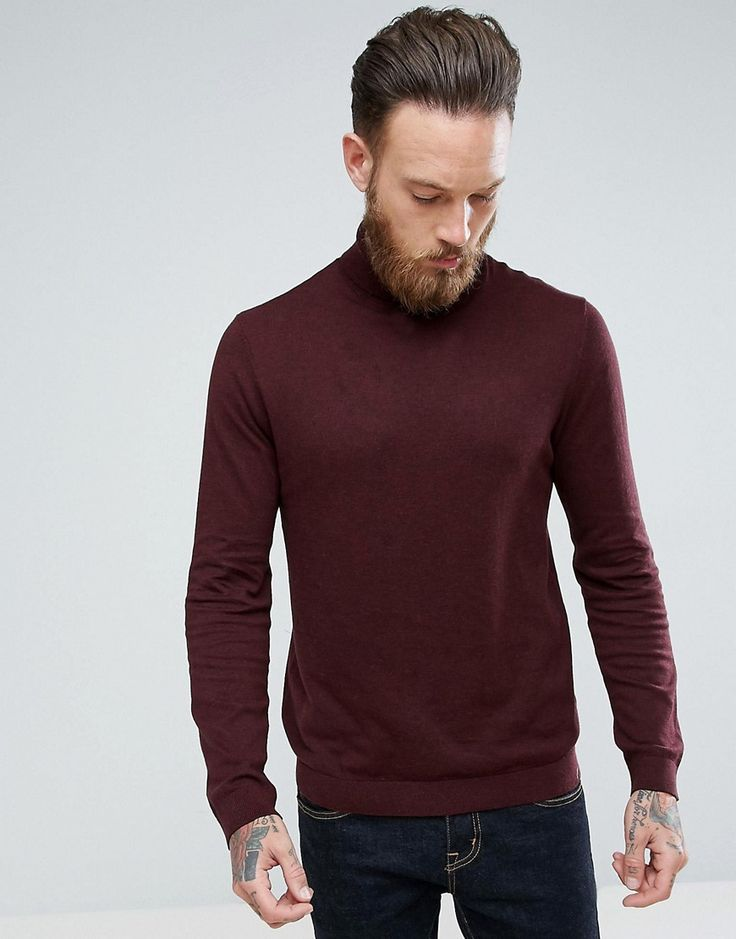 ASOS Roll Neck Cotton Sweater In Burgundy - Red