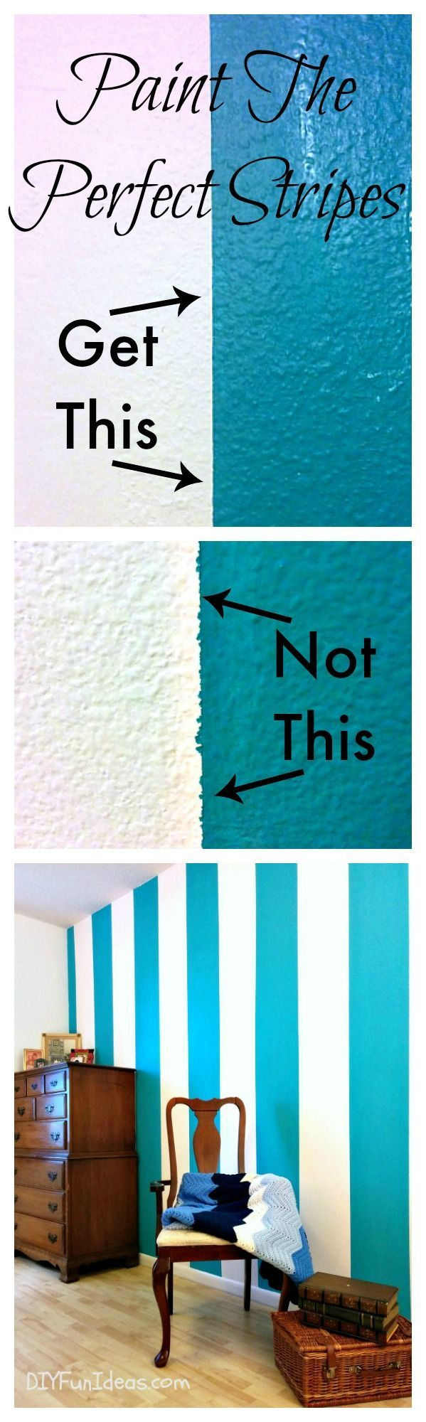 How to paint perfect stripes! Such a simple trick. 1) use small brush along tape line 2) don't overload brush 3) fill on with larger brush and side-to-side strokes