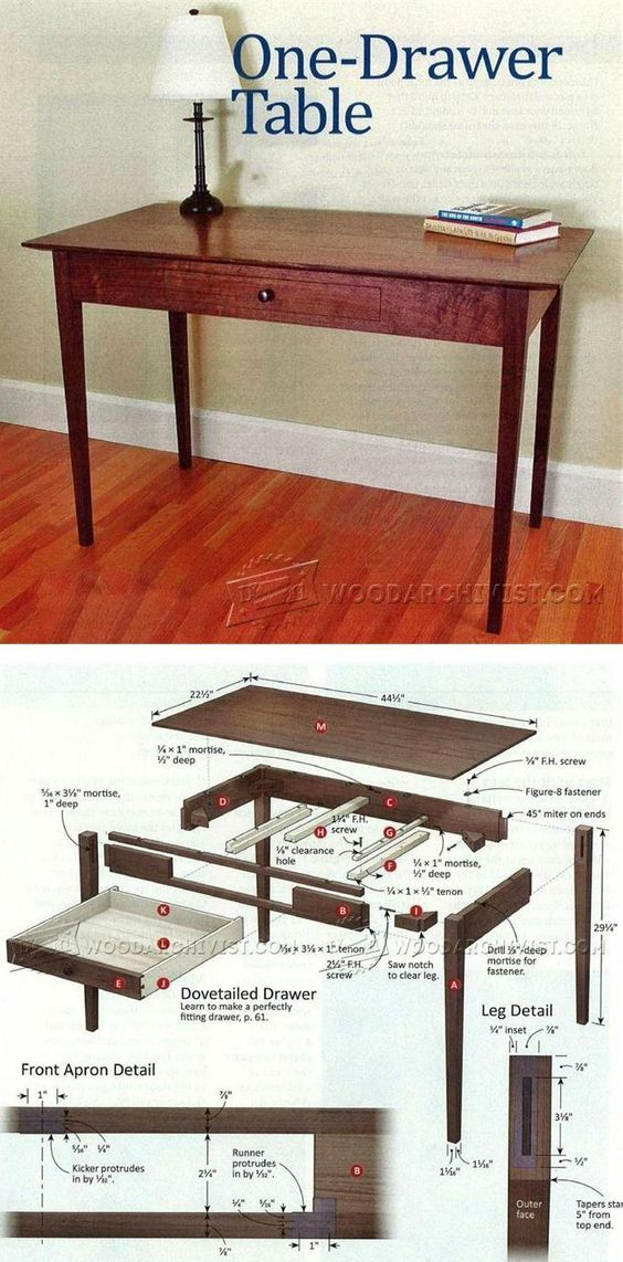 One-Drawer Table Plans - Furniture Plans and Projects | WoodArchivist.com