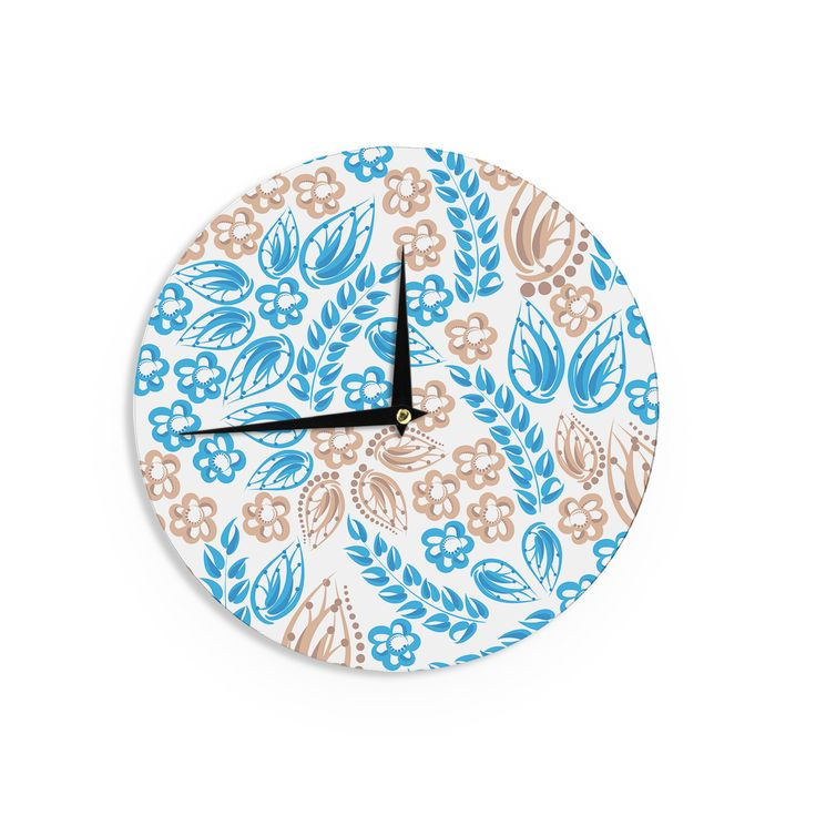 "Maria Bazarova ""Blue White Flowers"" Abstract Beige Wall Clock"