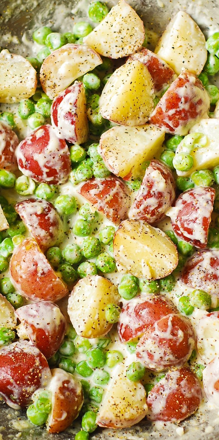 Creamy Parmesan Garlic Potatoes and Peas - gluten free side dish recipe.