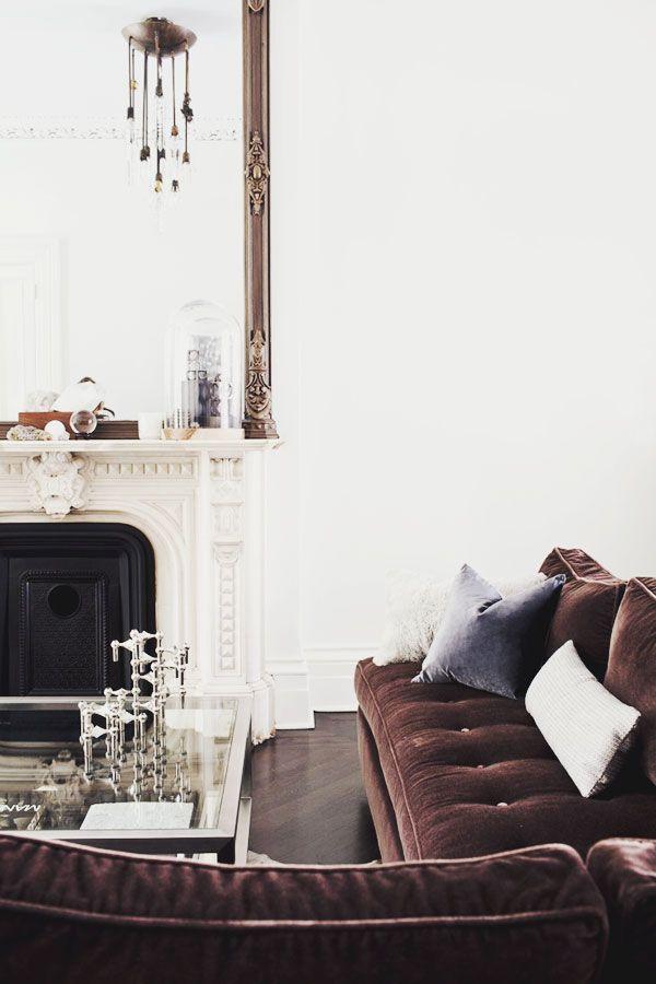 chocolate velvet sofa