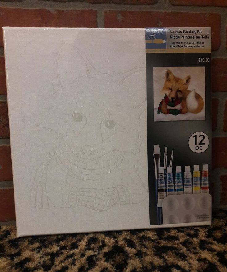 Artists loft canvas painting kit 12 piece art fox acrylic
