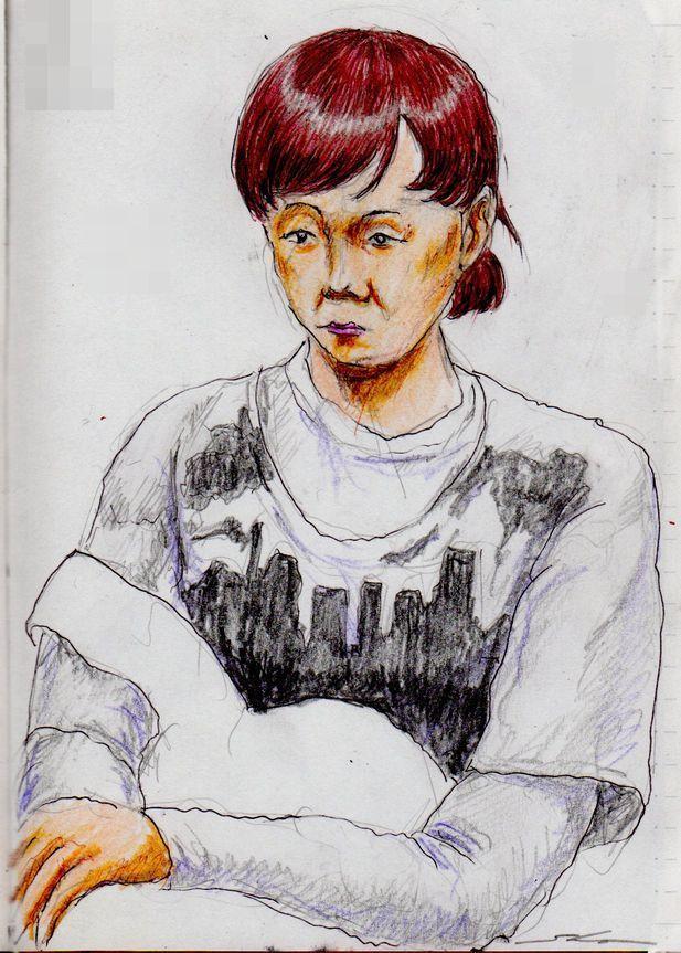 『赤茶色の髪のお姉さん(電車でスケッチ) This is a woman of sketch of red-brown hair. It drew in a commuter train.』