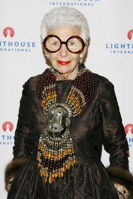 "90 year old geriatric starlet.  Fashion blog ""Advanced Style"".  Iris Apfel"