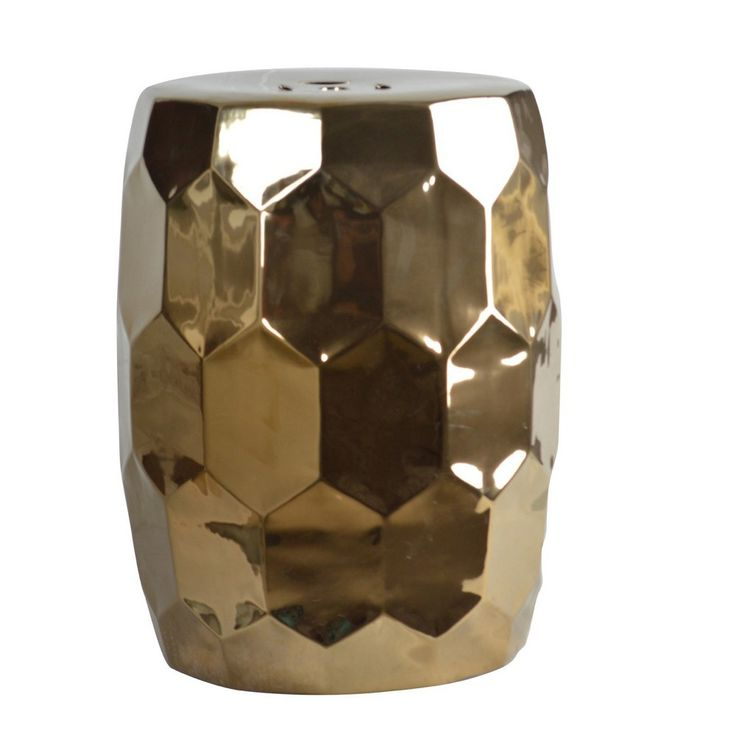 Broudus Chrome Ceramic Garden Stool - Gold - Abbyson