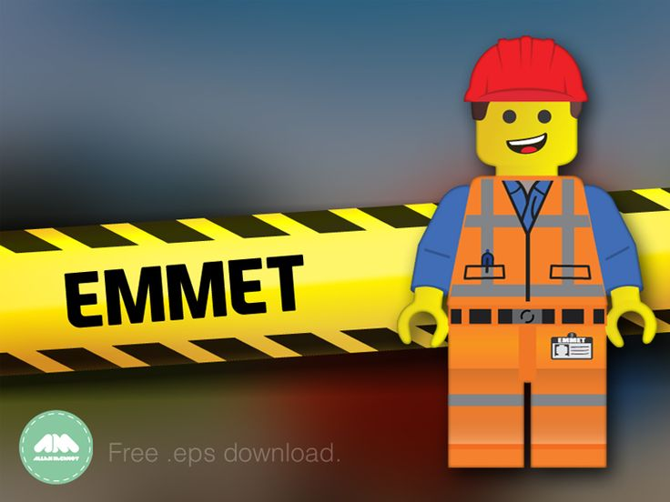 Just another Lego freebie, this time of Emmet from the Lego Movie. =)  Built using my Lego man template.