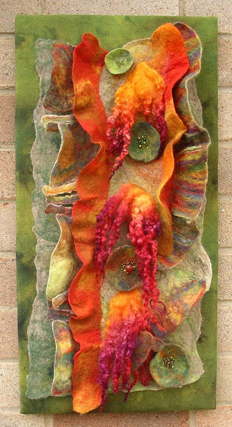 'Peeling Tree Bark 2'.  Various wools slashed and manipulated to give a relief effect. Yvonne le Mare