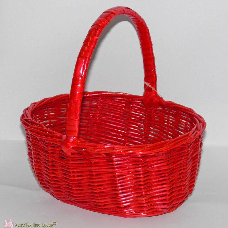 Καλάθι οβάλ με χέρι σε κόκκινο χρώμα ιδανικό για συσκευασία και πασχαλινή διακόσμηση. Red oval basket with handle for packaging and Easter decoration.