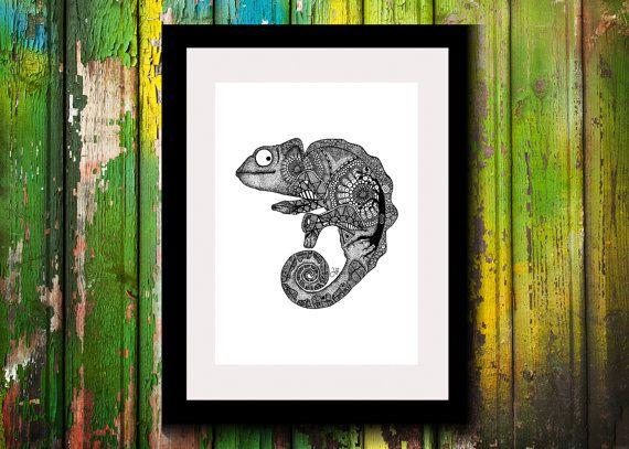 Wall Art, Drawing, Illustration, Zentangle Inspired, Patterns, Art, Print, Home Decor, Modern, Creative, Gift Idea, Chameleon