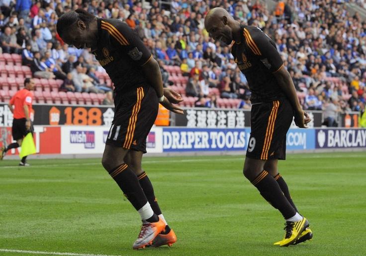Didier Drogba and Nicolas Anelka on Chelsea FC handcuff celebration