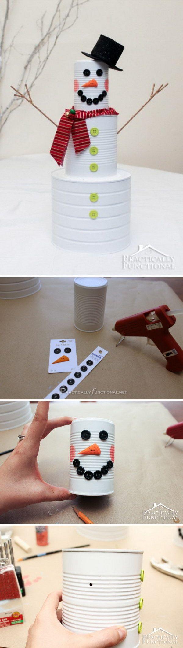 DIY Christmas Craft: Tin Can Snowman.