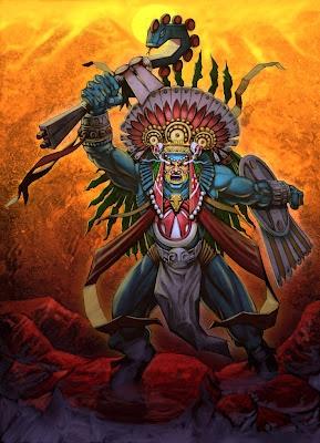 En la mitología y la religión azteca, dios de la guerra y del Sol.