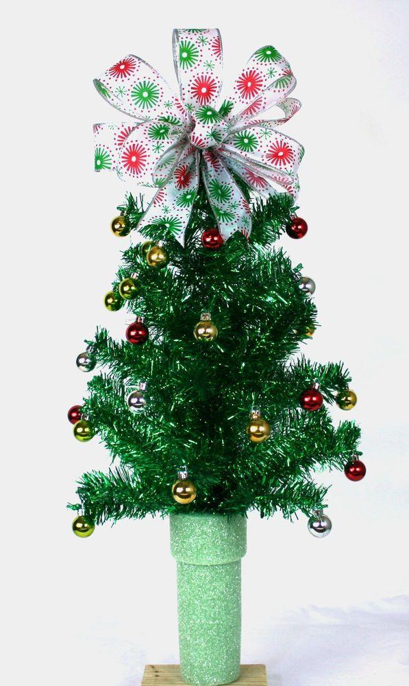 Mini Christmas Green Tinsel Tree For 3 inch Cemetery Vase Flower Arrangement