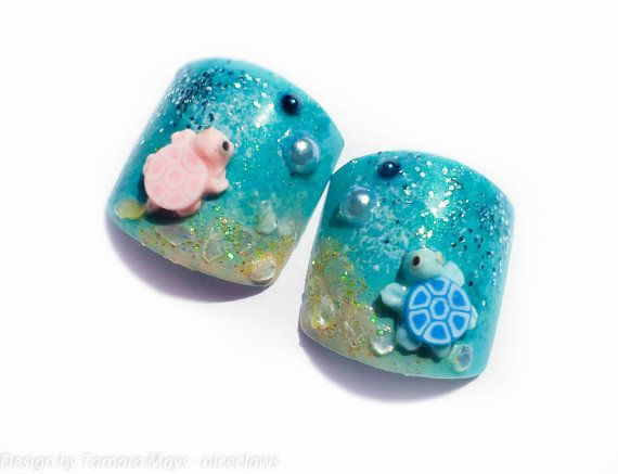 Turtles on the Beach Fake Toenails 3D Nails for Toes on Etsy, $12.00