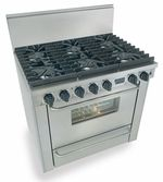 """TPN311-7BW Five Star 36"""" Pro Style Liquid Propane Range with Six Sealed Burners - Stainless Steel"""