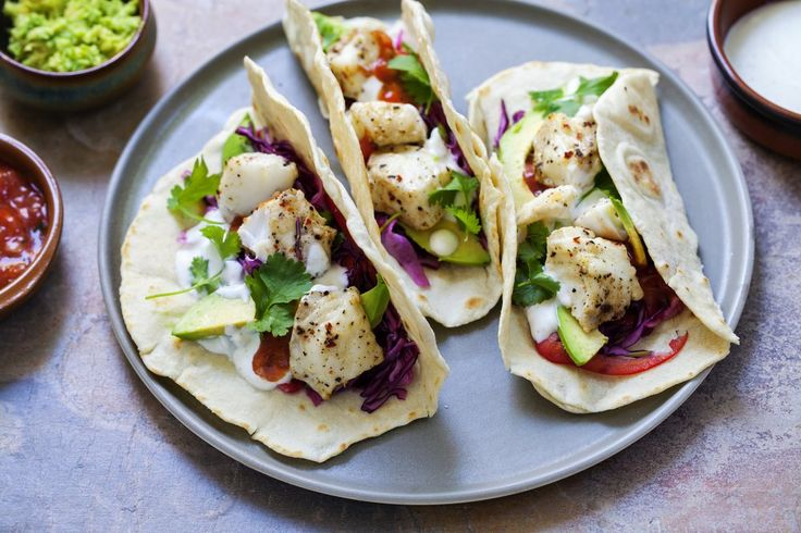 Serves 4 This fish taco recipe is the perfect weeknight meal! The flavours are so light and fresh, I love making these! Ingredients 100g purple cabbage, shredded 100g chinese cabbage, shredded 1 mediu