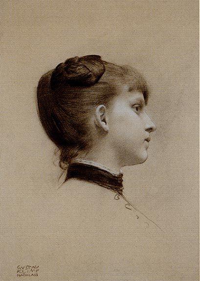 Young Woman in Profile, Gustav Klimt 1887: Art Klimt, Young Woman, Art Sketch, Young Women, White Highlights, Gustav Klimt, Gustavklimt, Klimt Drawings