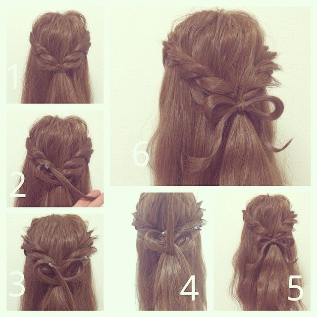 Twisted Half up with Ribbon Hair