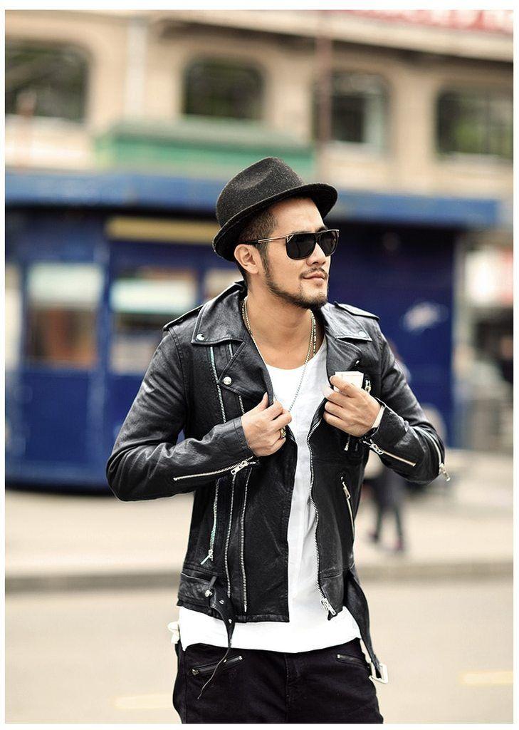 d727ff894c37 Men s Autumn Genuine Leather Slim Fit Motorcycle Jacket in 2019 ...