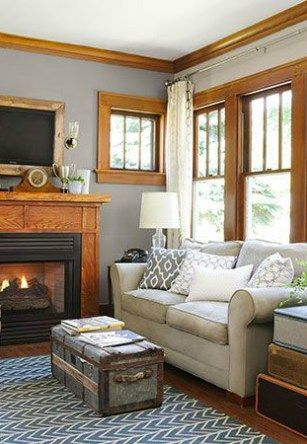 The best neutral and paint colours to update red, orange or yellow toned oak. Shown in living room.  Photo source: This Old House @thisoldhouse #paintcolors