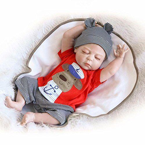 Lifelike Reborn Doll Full Body Silicone Fake Baby Boy Asleep 23-Inch for New Mommy Nursery Training