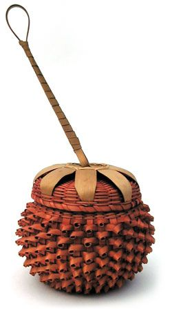 "Native American ""Strawberry"" basket. Nick Clark, president of the National Center for Great Lakes Native American Culture, has to say, ""The Strawberry Basket is made for and given to new-born babies and it is a treasure kept through their entire life and taken with them to the Spirit World. A piece of their umbilical cord is kept in the basket along with other things of special meaning so the ancestors will recognize them when the arrive in the Spirit World."