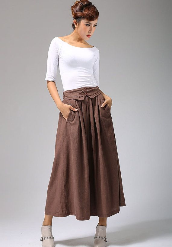 maxi linen dress Pleated skirt 690 by xiaolizi on Etsy, $69.00