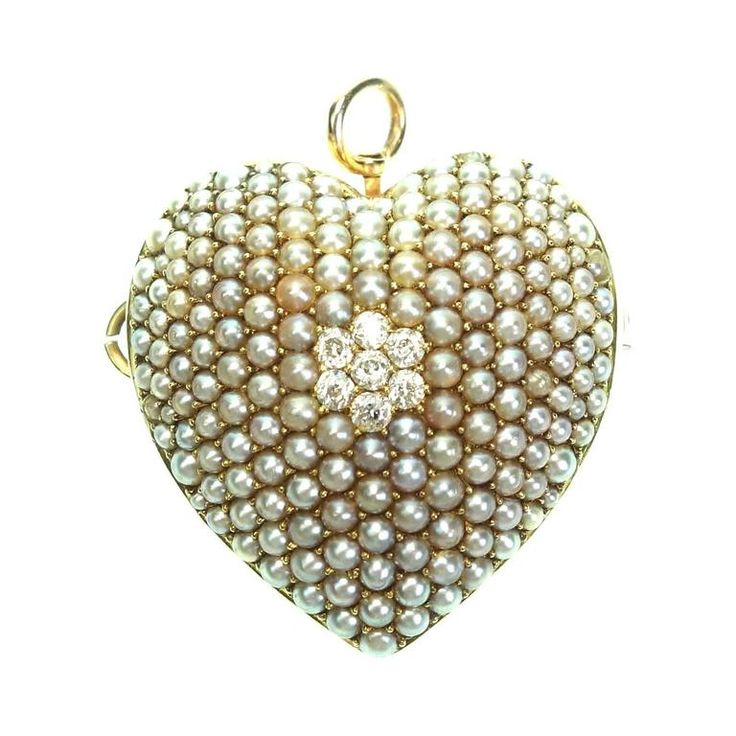 Antique Victorian Yellow Gold Seed Pearl and Diamond Heart  Pin Brooch Pendant 1890