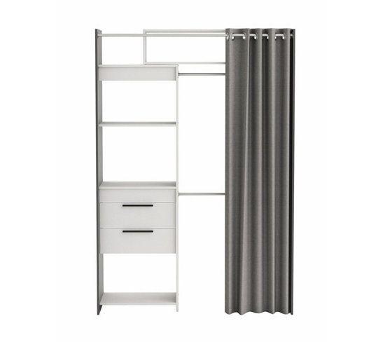 Rangements Composables - Armoire dressing extensible SANTIAGO gris et blanc