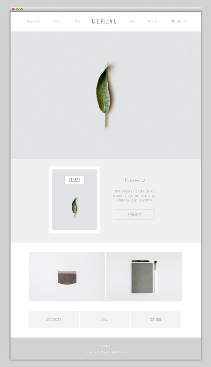 Minimalist web design for C | E | R | E | A | L magazine. This make navigation quite easy, but keep in mind more (well-structured) content can improve SEO, too. So, economic design can have a trade-off.