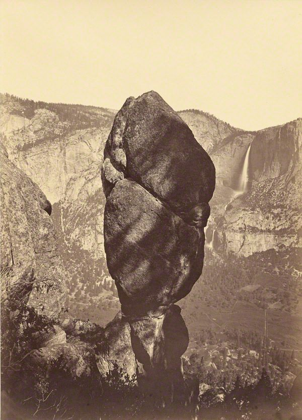 A sort-of-levitated mass in honor of LACMA's yeah-totally levitated mass.Agassiz Rock and the Yosemite Falls, from Union Point, Carleton Watkins, about 1878. The J. Paul Getty Museum, 2004.