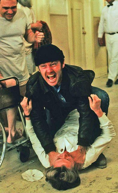 "Jack Nicholson choking Louise Fletcher in ""One Flew Over The Cuckoo's Nest"" (1975) Louise Fletcher - Best Actress Oscar 1975"