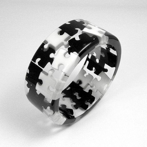 Resin Black and White Puzzles Bangle, $50.00