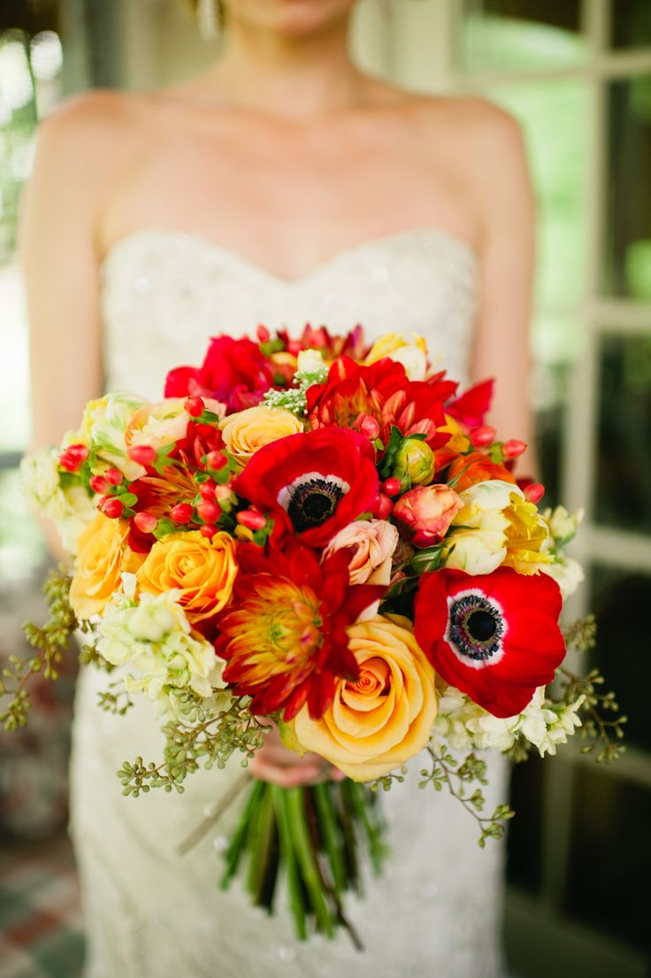 riotous red and orange bouquet by HotHouse Design Studios