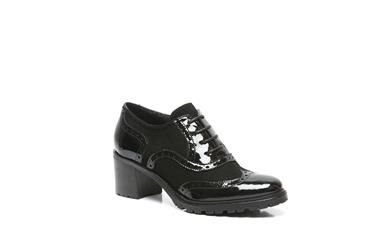 Manfield - zwarte veterschoenen
