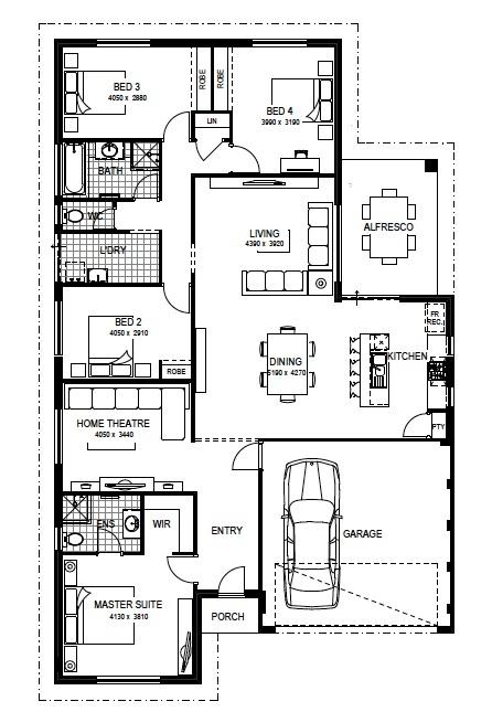 Floorplan Me encanta que aunque sea de una sola planta, la privacidad de los cuartos no se pierde