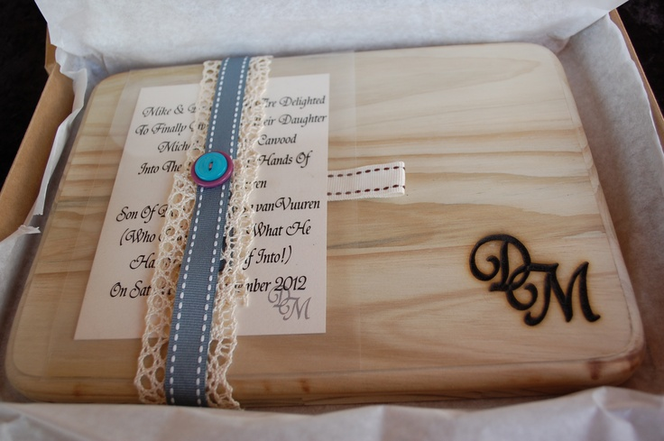 Clever gift idea - wooden board with intials of couple