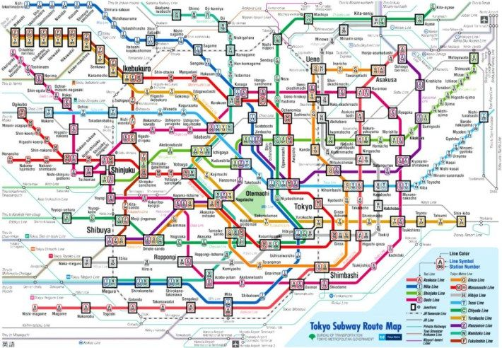 Tokyo subway map (there are many more lines not on this map eg. JR and shinkansen)