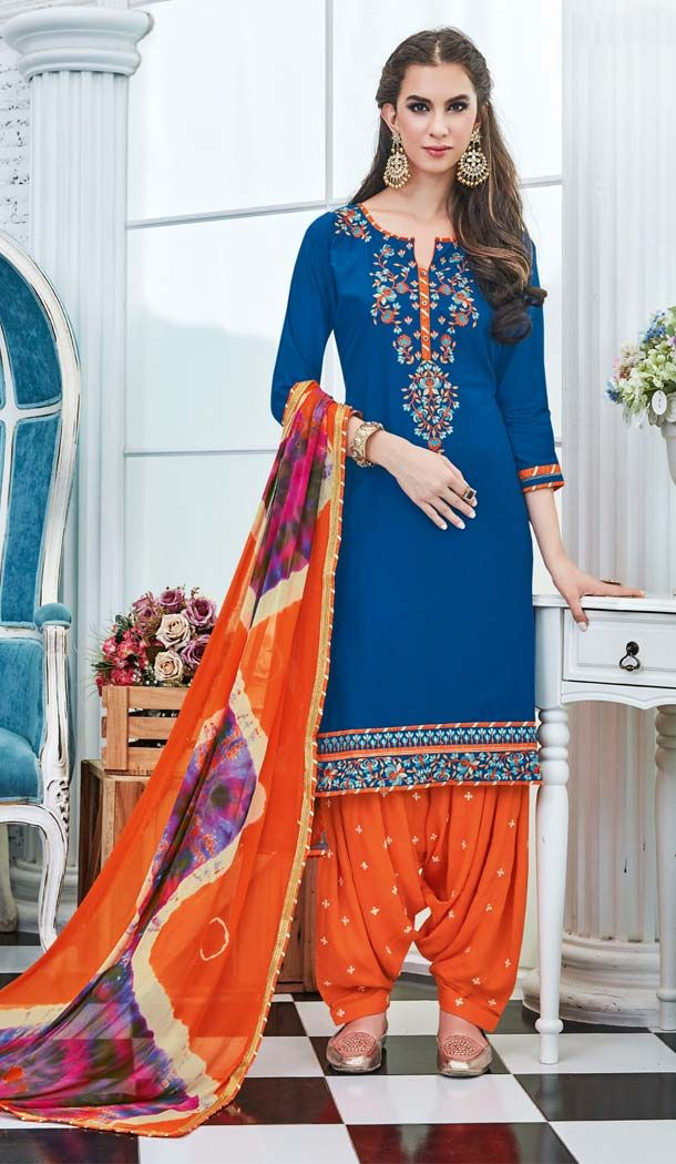 Make the heads flip as soon as you costume up with this lovely Blue Color Cotton Embroidery Casual Panjabi Suit. the lovely embroidery work a substantial attribute of this attire.comes with matching dupatta and matching patiyala pent.