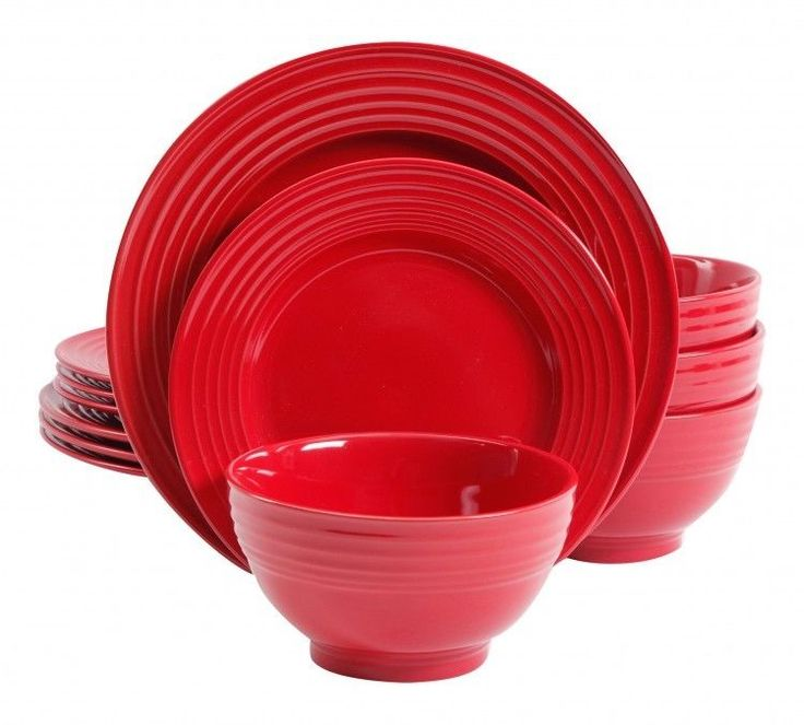 Red Dinnerware Set Round 12 Pieces Service For 4 Tableware Dishes  Bowls Mugs #RedDinnerwareSet