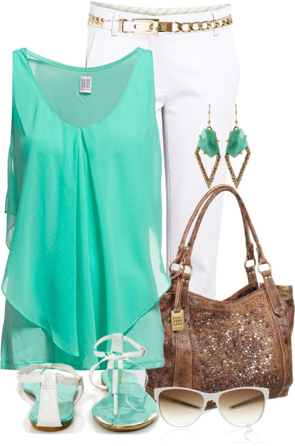 """""""Turquoise & White"""" by lagu on Polyvore"""
