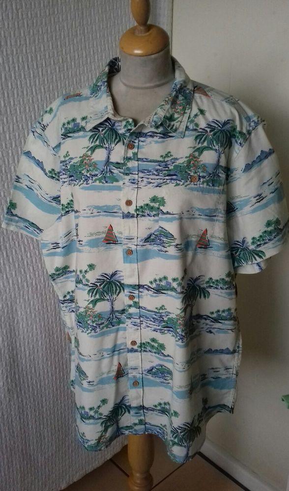 269401c8 1940s 1950s style Rockabilly Hawaiian shirt Palm tree size XL chest 48