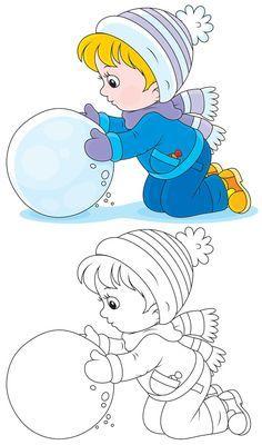 滚雪球的女孩卡通画