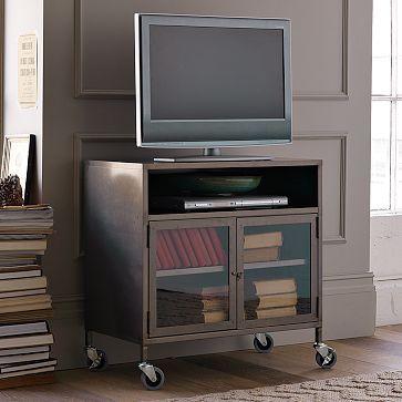 Media stand: Westelm, Idea, Living Rooms, Tv Carts, Industrial Tv, Metals Tv, Tv Stands, West Elm, Industrial Metals