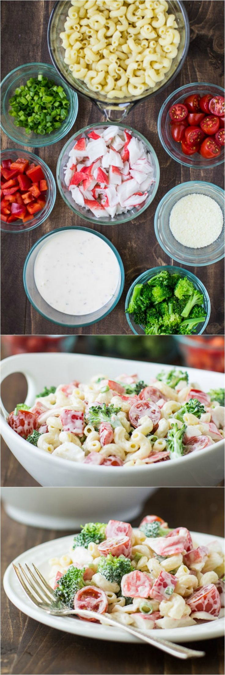 Seafood Pasta Salad is perfect for summer! Your favorite seafood and tons of fresh veggies are tossed in a zesty dressing with chewy pasta. Easy, filling, and so tasty!